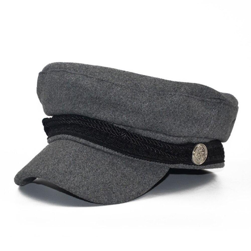 Offen 2018 Dame Military Hut Neue Mode Winter Warme Französisch Stil Wolle Military Beret Schwarz Seil Taste Dame Kappe Einstellbare Visier Hut