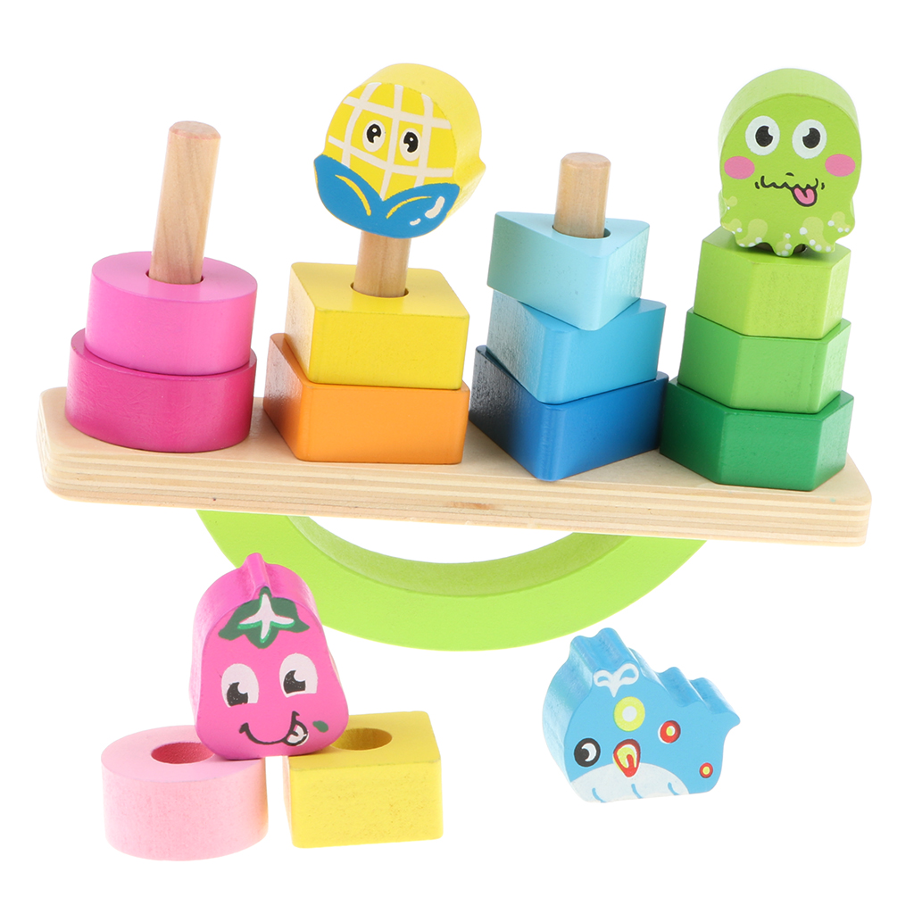 Us 1495 28 Offkid Wooden Stacking Tower Geometric Block Game Fruit Balance Beam Puzzle Educational Stack Up Balancing Toy Gifts In Sorting