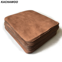 Kachawoo 100pcs 175mm X 145mm Brown Glasses Cleaning Cloth Suede Customize Glasses Accessories Microfiber Cloth