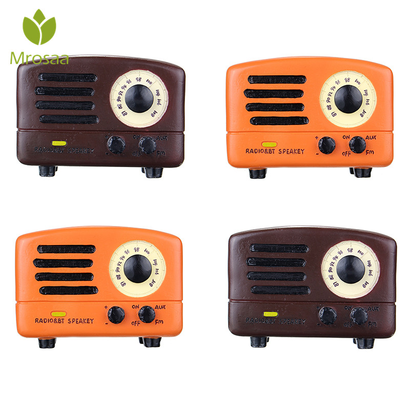 DIY Hand Cranked Retro Radio Music Box Classical Wooden for Kids Wind Up Toys Gifts