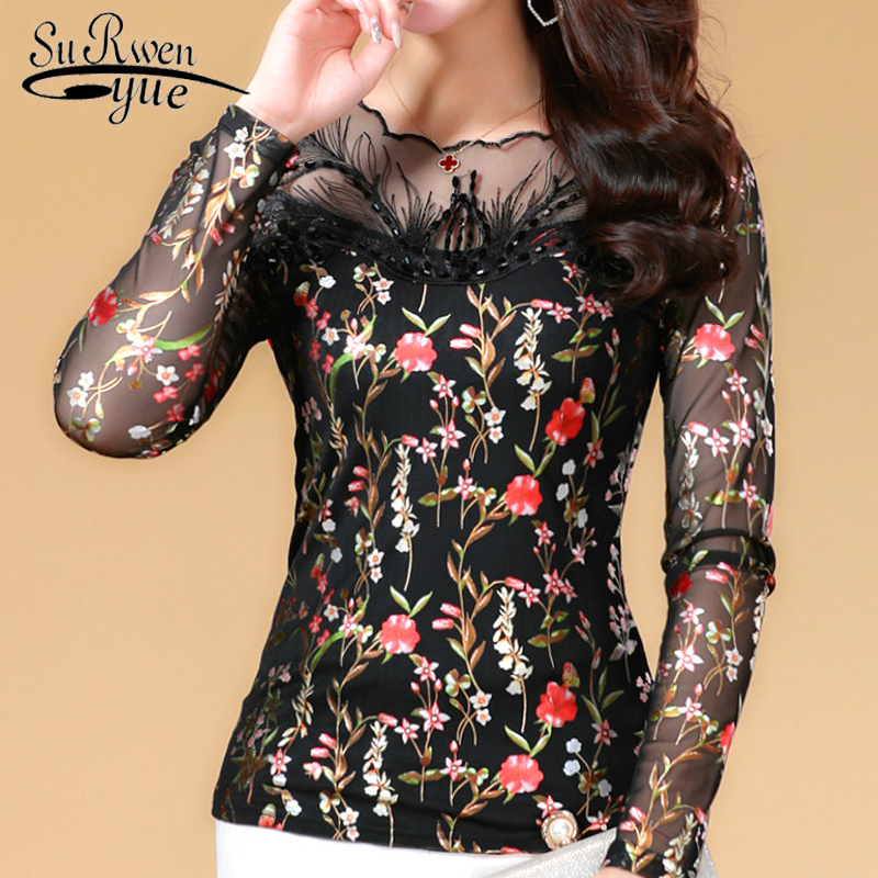Fashion Womens Tops And Blouses Plus Size Lace Chiffon Blouse Shirt Floral Print Blouse Women Long Sleeve Women Shirts 1455 50