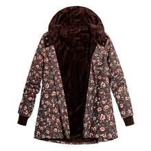 Women Faux Fur Hooded Coat Floral Print Side Pockets Warm Vintage winter jacket women plus size Loose Casual Parka Coat Outwear