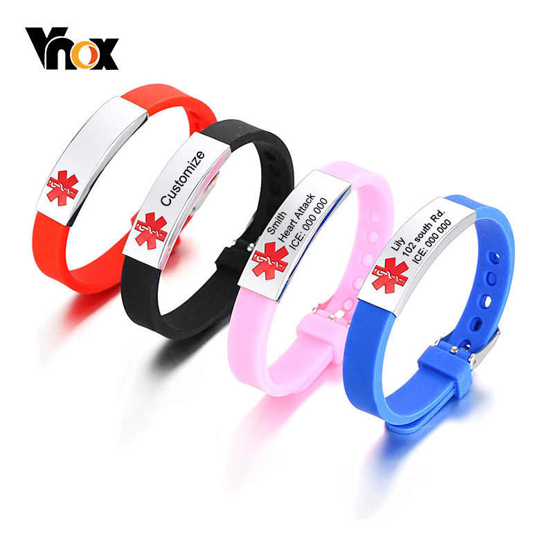 Vnox Free Engraving Medical Alert ID Bracelets For Women Men Silicone Bangle Stainless Steel Tag Emergency Personalized Diabetes