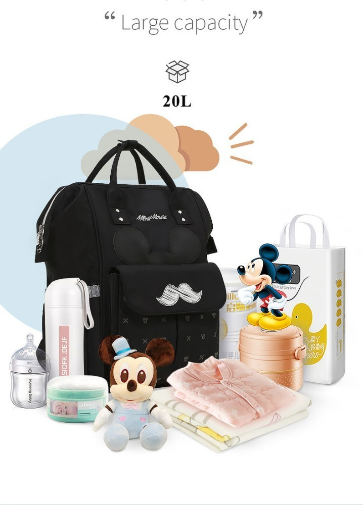 Disney Mummy Bag USB Heating Waterproof Diaper Bag Mummy Maternity Nappy Bag Travel Backpack Large Capacity Baby Care Bag
