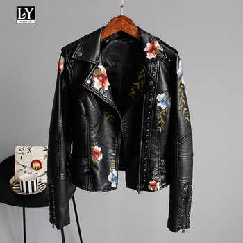 Ly Varey Lin Floral Print Embroidery Faux Soft Leather Jacket Women Pu Motorcycle Coat Female Black Punk Zipper Rivet Outerwear - DISCOUNT ITEM  30% OFF All Category