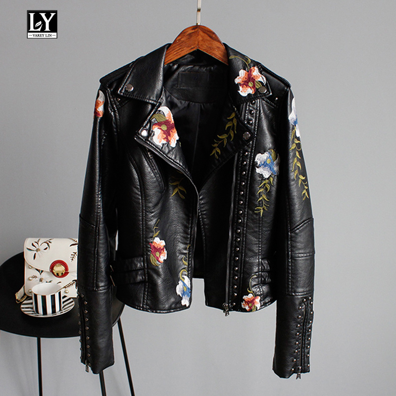 Ly Varey Lin Floral Print Embroidery Faux Soft   Leather   Jacket Women Pu Motorcycle Coat Female Black Punk Zipper Rivet Outerwear