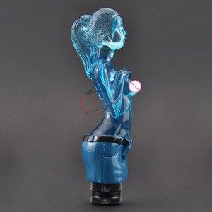 8/10/12mm azul chica Sexy estilo de cristal coche Auto vehículo Manual Stick perilla de palanca de cambios personalizado