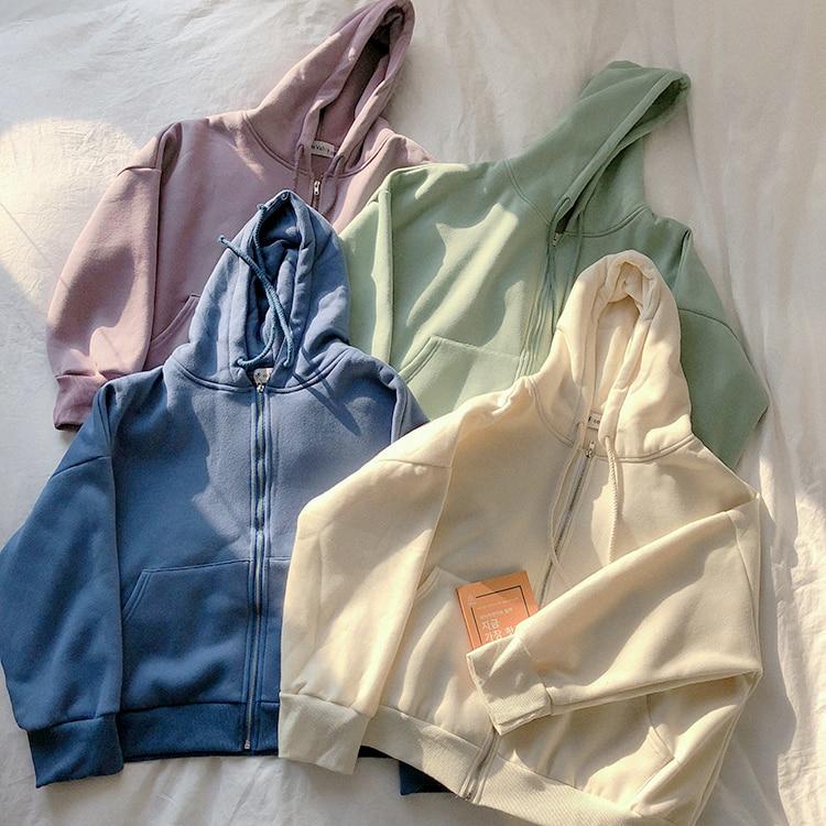 Spring Blank Women Hoodies With Zipper Fleece Purple Beige Blue Green Korean Style Boyfriend Coat Hooded