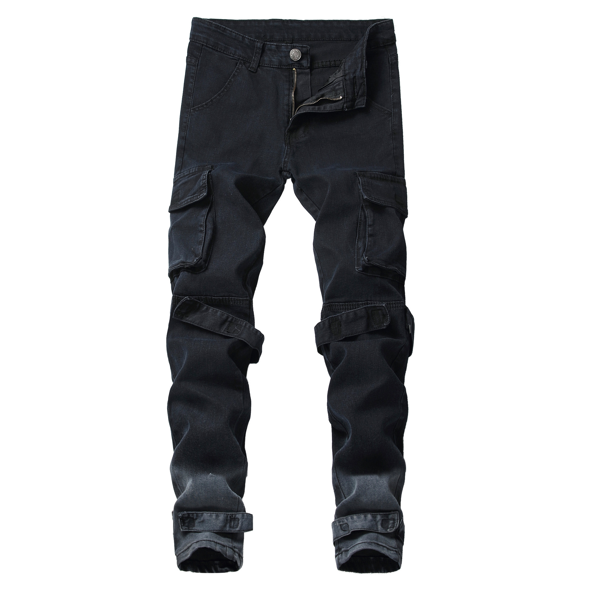 Men Fashion Jeans Casual  Big Pocket Pant High Street Hip Hop Slim Fit Streetwear Trousers Biker Black Harness Pant Plus Size