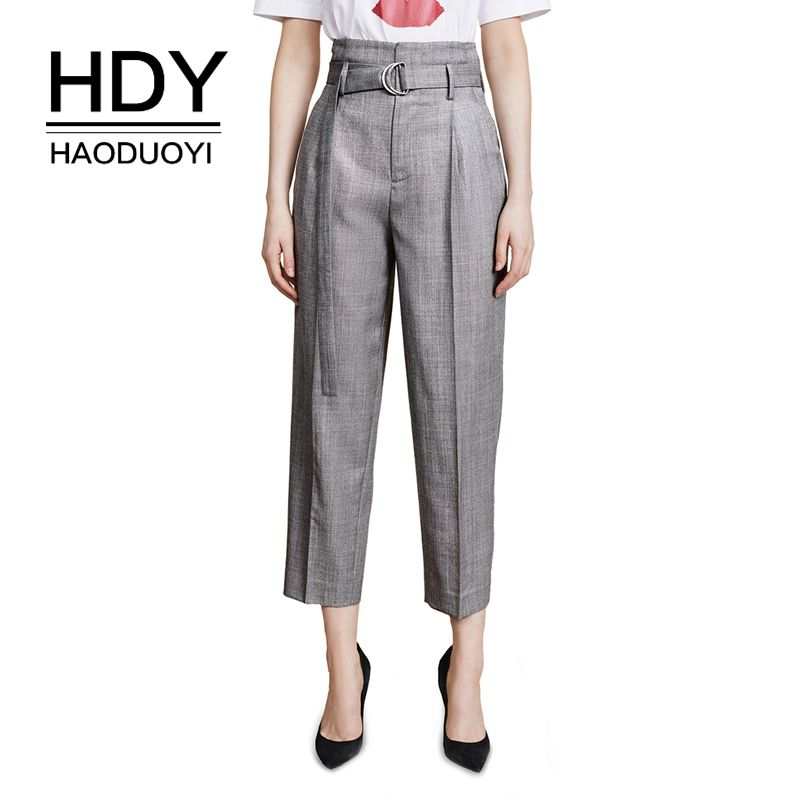 HDY Haoduoyi 2019 New Women Autumn Simple Gray High Waist Show Leg Long Metal Ring Bandage Show Thin Nine Minute Pants