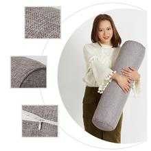 Simple Removable Solid Color Round Cervical Pillow Bed Roll Cushion Head Leg Back Support Light Travel Column Pillow