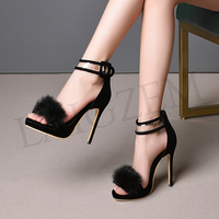 LAIGZEM SUPER Women Sandals Ankle Strap Stiletto High Heels Sandals Feather Shoes Woman Scarpe Donna Small Plus Small Size 33 52