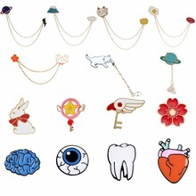 Cute Animal Brooches For Women Colorful Cartoon Enamel Pins Kawaii Anime Lucky Cat Mount Fuji Planet Omelette Rabbit Xmas Brooch