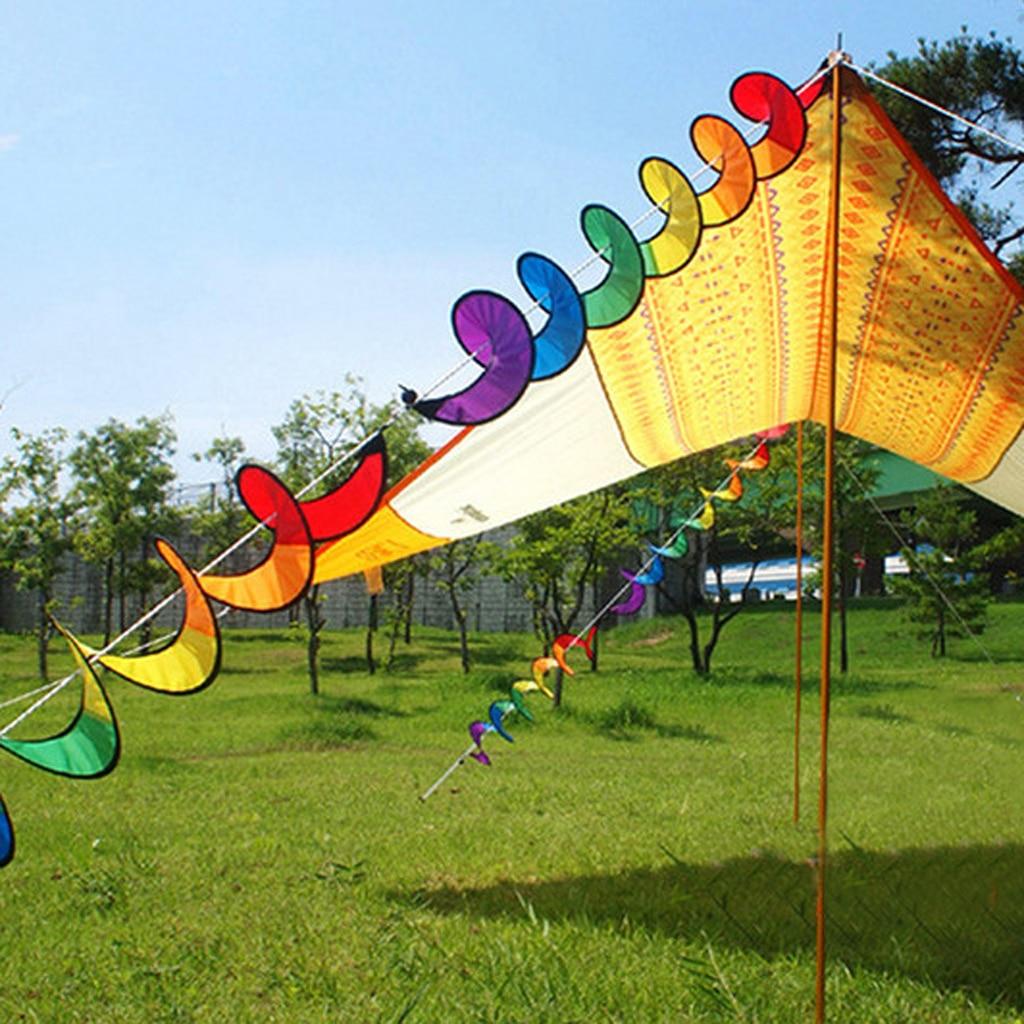 Rainbow Wind Spinner Toy Ground Stake Outdoor Yard Garden Decor Spinner AB