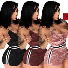 Women's Summer Velvet Tracksuit Fashion Vest Crop Top And Mini Shorts 2019 Casual Ladies Solid Color Side Striped Two Piece Set