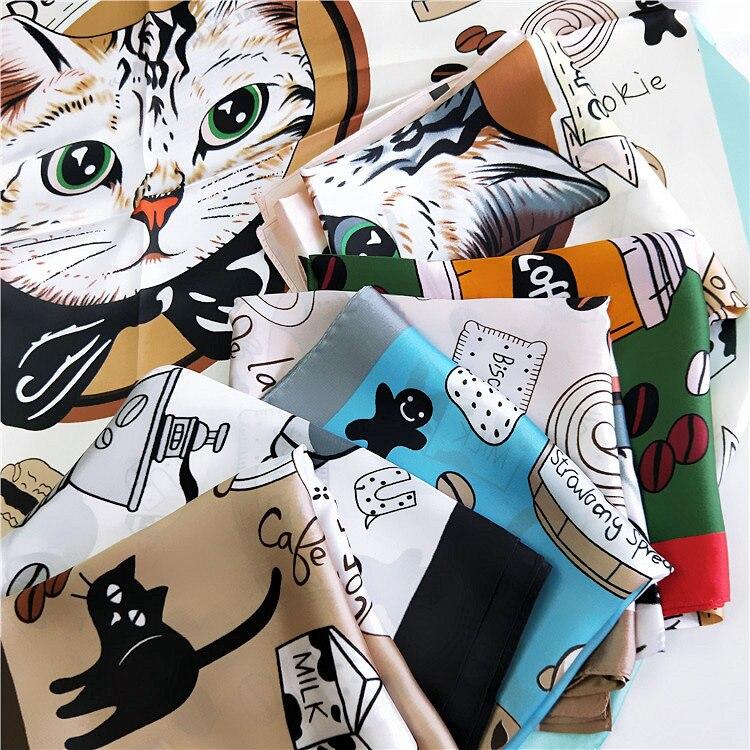 70*70cm Fashion Kerchief Cartoon Scarf For Women Animal Print Hair Scarf Female Square Neckerchief Cute Headband Scarves