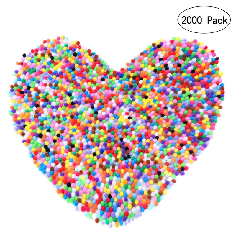 2000pcs <font><b>10mm</b></font> Mixed Color Pom Pom Soft <font><b>Felt</b></font> Balls Pom Poms Fluffy Balls DIY Crafts Decor For Baby Children Kids Room Decorations image