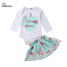 Matching Clothes Big Sister Long Sleeve T-shirt Little Sister Romper + Blue Lace Tutu Dress Outfits Clothes Set(China)