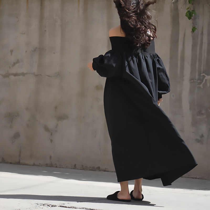 [EAM] 2019 nouveau automne hiver Slash cou à manches longues blanc grande taille longue tempérament robe femmes mode marée JS4520