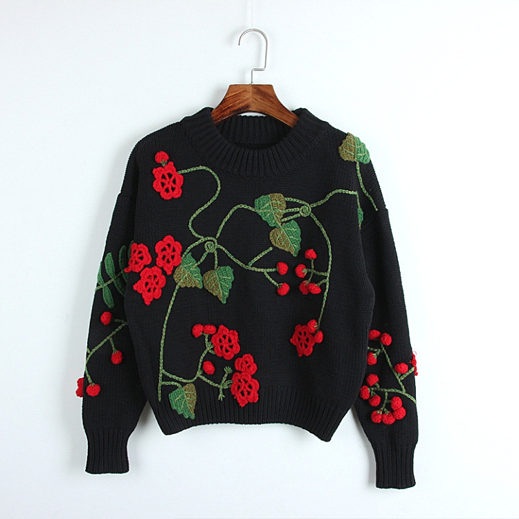 Women Knit Embroidery Flower Appliques Sweater Winter Black White Long Sleeve Boho Hippie Chic Style Fashion Pullover Sweater