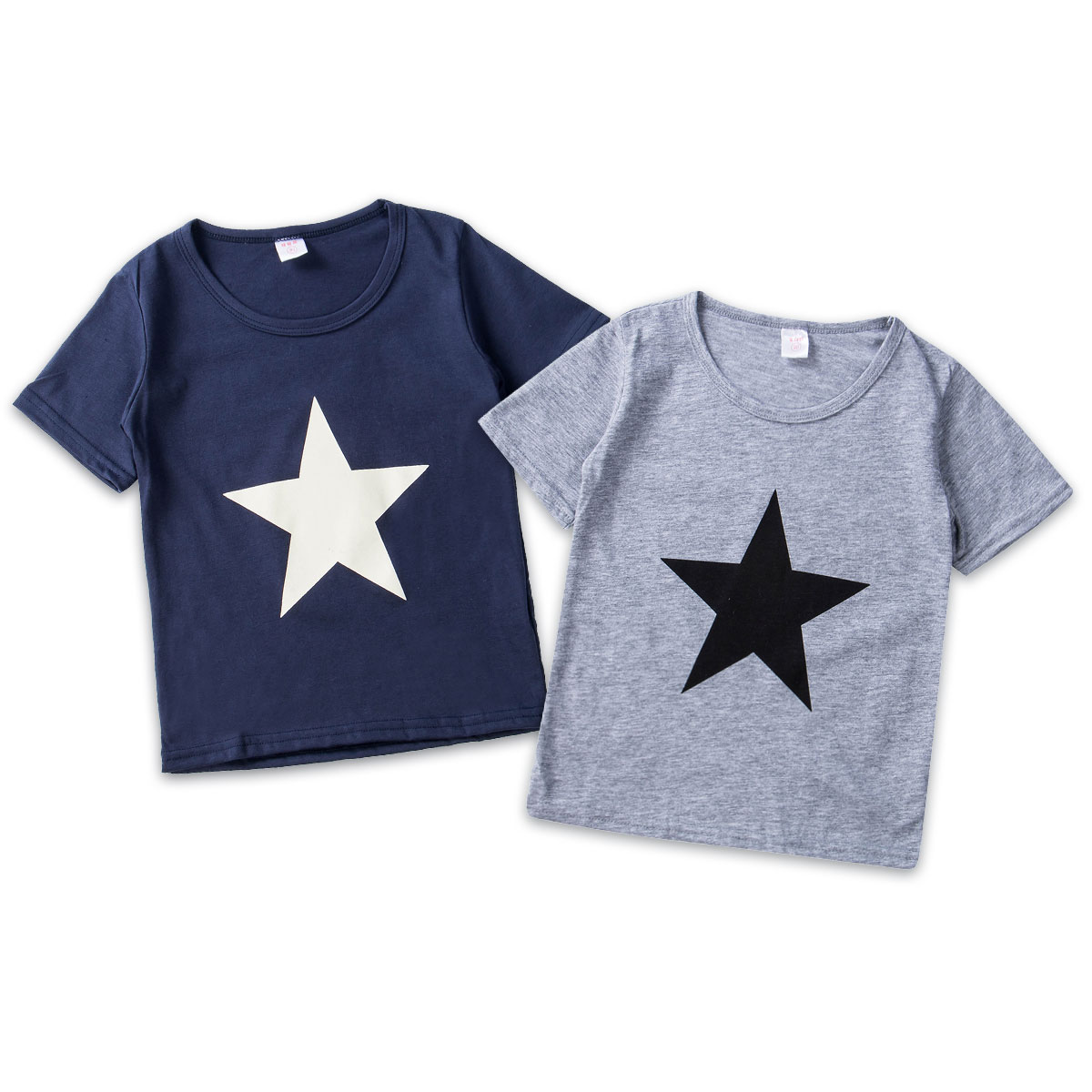 Boys T-Shirts Costumes Tops Short-Sleeve Star-Print Child Casual Kid Tollder title=