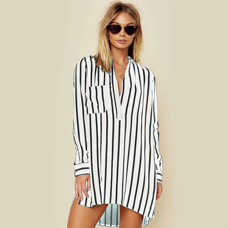 NEW ZANZEA 2019 Spring Long Sleeve Loose High Low Long   Shirts   Women Deep V Neck Work Ladies Baggy Striped   Blouse   Mini Vestido