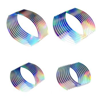 10/12/14/18 Inches Laser Wheel Rim Tape For Motorcycle And Car Reflective 16 Stripes Reflective Body Sticker Universal image