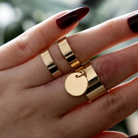 2pcs Fashion Simple Men Women Alloy Open Cuff Decoration Finger Ring Jewelry