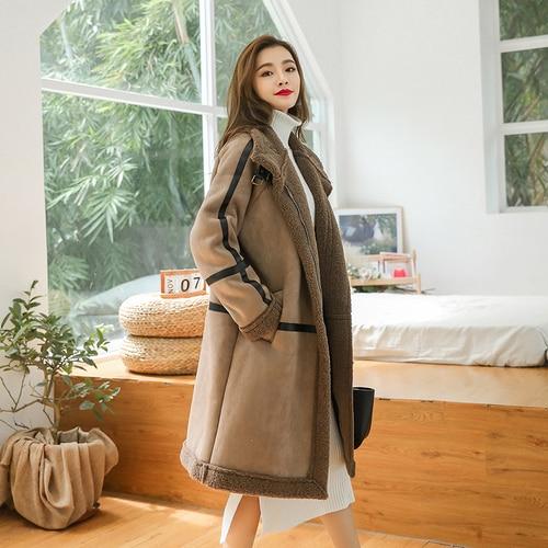Japan 2018 Winter Women Faux Sheepskin   Suede     Suede   Coat Thick Coat Flocking Wool Women's Long   Leather   Coats Plus Size Outerwear