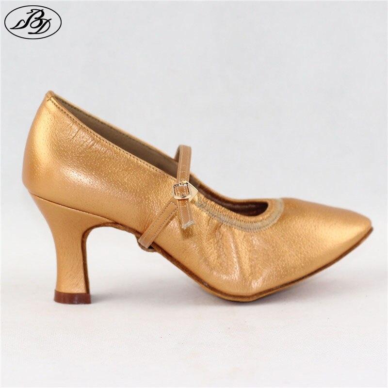 d080ae4bec US $39.49 27% OFF Lady Standard Dance Shoe BD 125 High Heel Pigskin Leather  Women Ballroom Dance Shoe Dancesport Dance Soft Sole-in Dance shoes from ...