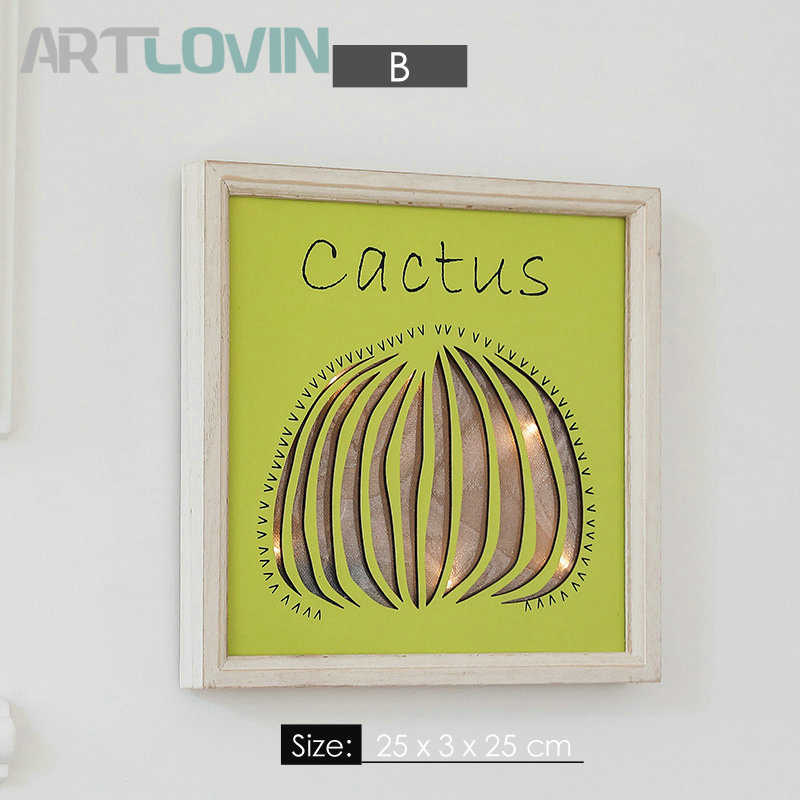 Nordic Style 3D Painting Picture Frame Wall Mounted Decoration With Led Lighting Cactus Carved Frames Green Plant For Home Decor in Frame from Home Garden
