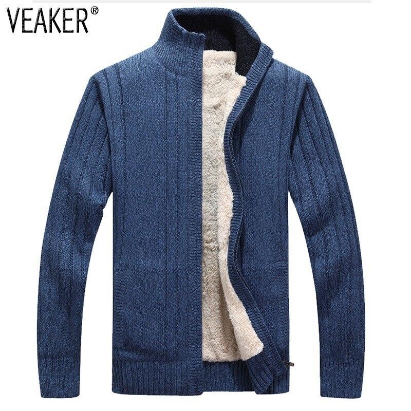 2018 nouveaux hommes d'hiver épais fausse fourrure Sweatercoat mâle couleur unie Slim Fit chandails fausse laine chandail manteau survêtement M-3XL