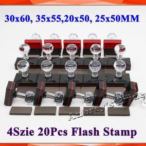 Image 1 - 20 stks Rechthoek 30x60mm + 35x55mm + 20x50mm + 25 x 50mm + 7mm Rubber Pad Flash Stempel Shell Lichtgevoelige Materiaal Zelfinktende Stempelen
