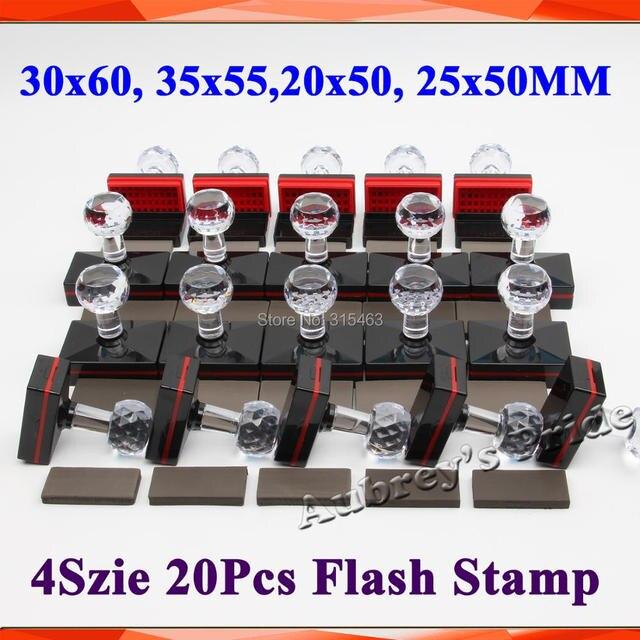 20 stks Rechthoek 30x60mm + 35x55mm + 20x50mm + 25 x 50mm + 7mm Rubber Pad Flash Stempel Shell Lichtgevoelige Materiaal Zelfinktende Stempelen