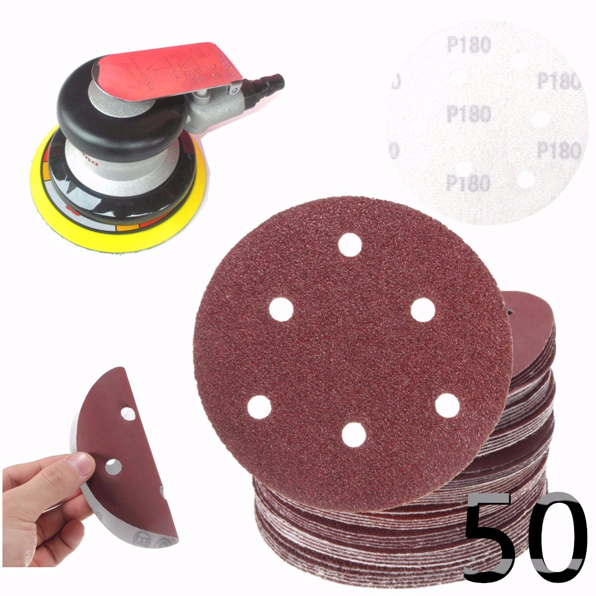 50Pcs 125mm/5inch  6 Holes Sanding Disc 40-800 Mixed Grit Sandpaper Round Shape Buffing Pads Orbital Sheet For Polishing