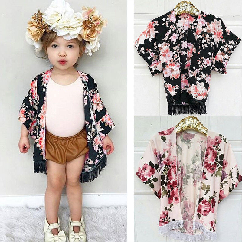 Kids Toddler Baby Girls Chiffon Tassel Kimono Outfit Open Cardigan Cover up Tops Shirt for 1-4T Girl girl