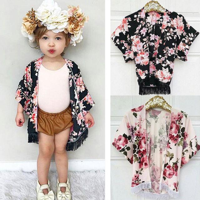 Trẻ em Toddler Bé Gái Voan Tua Kimono Trang Phục Mở Cardigan Bìa up Tops Áo Sơ Mi cho 1-4 t Cô Gái