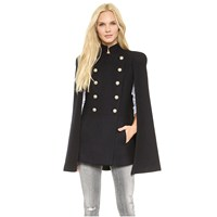 Winter Women Double Breasted Woolen Coats Casual Loose Overcoat Long Sleeve Cloak Coat Jacket Button Batwing Poncho Capes