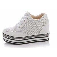Высокое качество Натуральная кожа Лето увеличивающая рост женская повседневная обувь модная супер дышащая обувь на платформе со шнуровкой