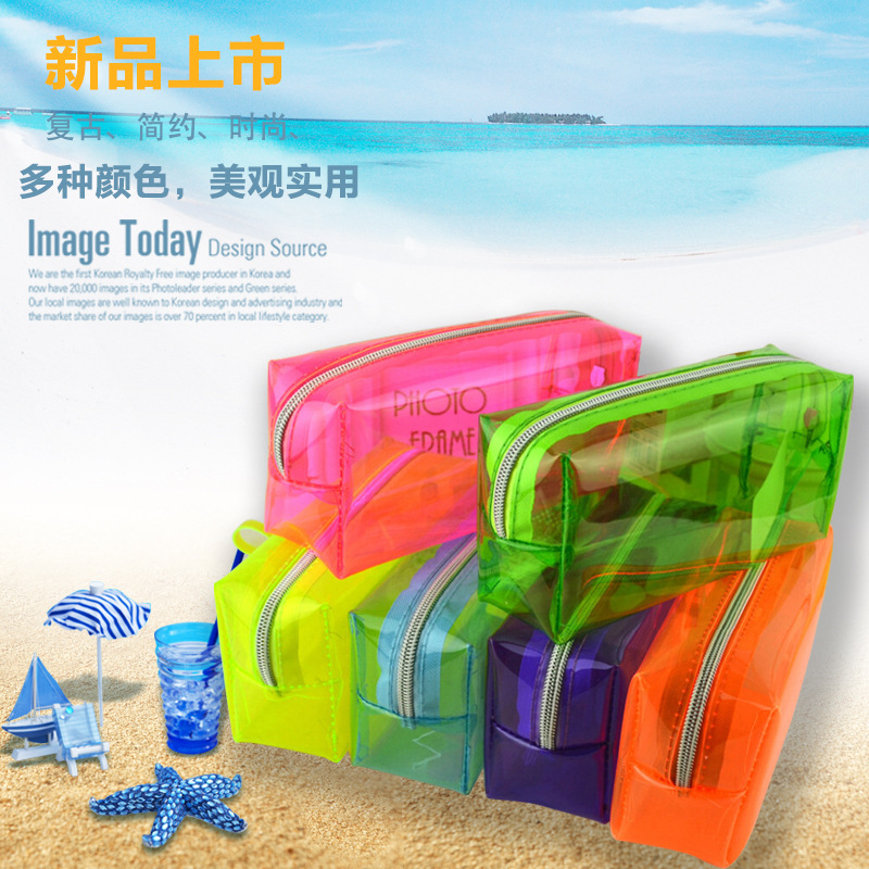 2019 Candy Travel PVC Cosmetic Bags Women Transparent Clear Zipper Makeup Bags Organizer Bath Wash Make Up Case