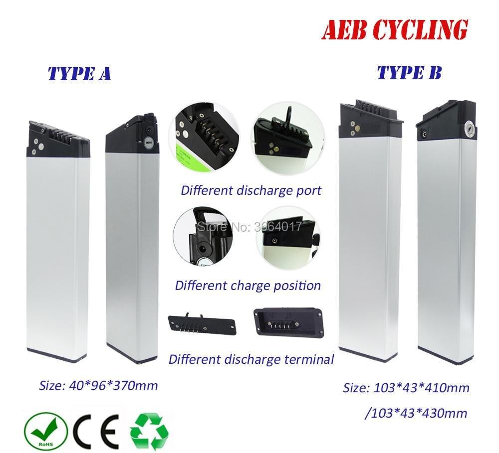 UE US livraison gratuite et taxes vélo Pliant batterie 36 V 10Ah intérieure tube batterie Au Lithium ion argent cas batterie pour vélo de ville