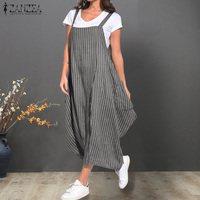 beeb00563bff19 ZANZEA Summer Women Strappy Pockets Striped Dress Loose Casual Overalls  Dress Ladies Party Sundress Femme Sarafans