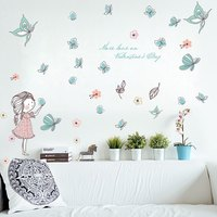 The On The Wall Flower Butterfly Lovely Girl The Living Room Bedroom Background Decorative Home Furnishing Stickers