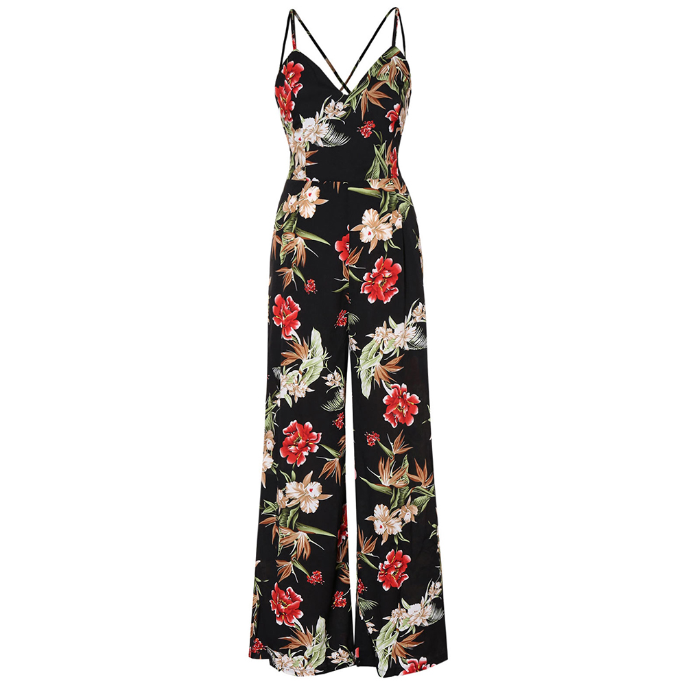 Wipalo Women Plus Size Back Criss Cross Floral Print Jumpsuit Spaghetti Strap Ladies Summer Casual Maxi Jumpsuit Holiday Set 3XL
