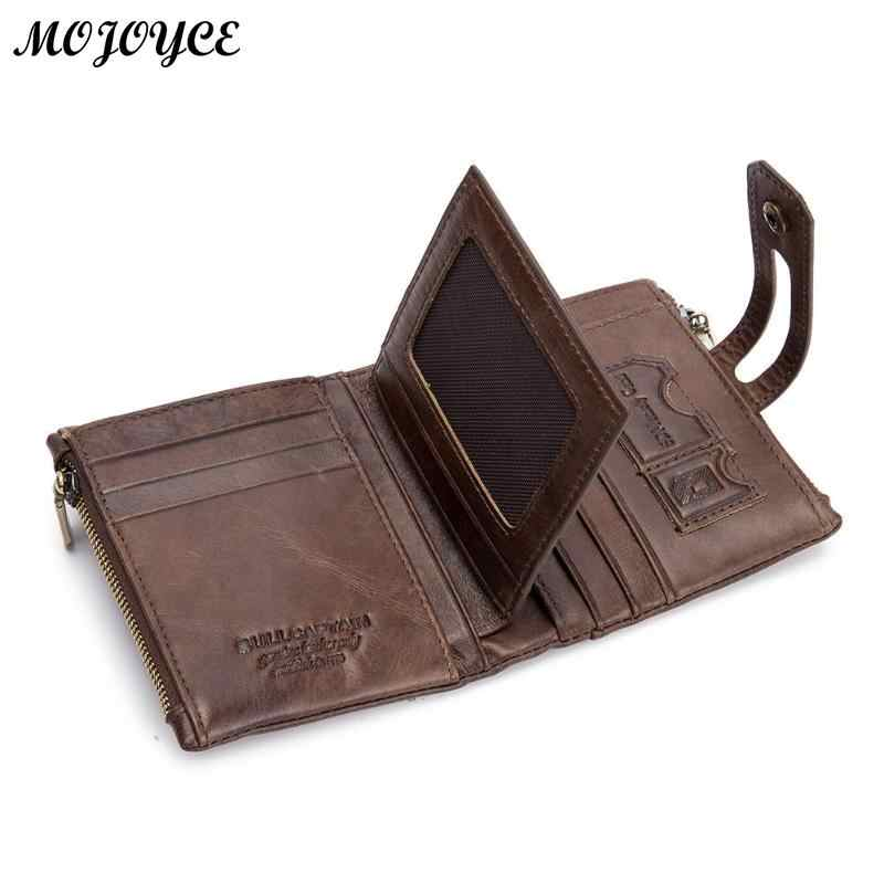 bcd6e30b48 Bullcaptain RFID Antimagnetic Genuine Leather 14 Card Slots Coin Bag Wallet  Vintage Men Purse High Quality Male Card ID Holder