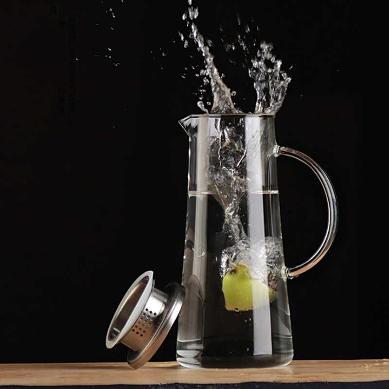 1.5Л стеклянный кувшин, с крышкой из нержавеющей стали, боросиликатное стеклянное столовое вино, сок, молоко, холодная вода, горячий кофе и т. д.