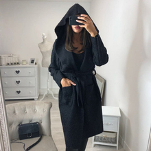 Autumn Thin Coat Women Hooded Wool Blends Coats Female Belted Long Sleeve Solid Outwear Windbreaker Ladies