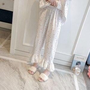 Image 5 - 2019 printemps automne femmes pyjamas mignons ensembles avec pantalon coton vêtements de nuit mignon dentelle col en v Double gaze vêtements de nuit Pijama
