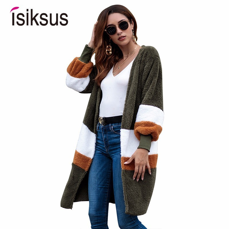 Isiksus Autumn Fleece   Jackets   Women Long Sleeve Cardigan Winter 2018 Fur Coats Female Fall Casual   Basic     Jackets   for Women WJ006