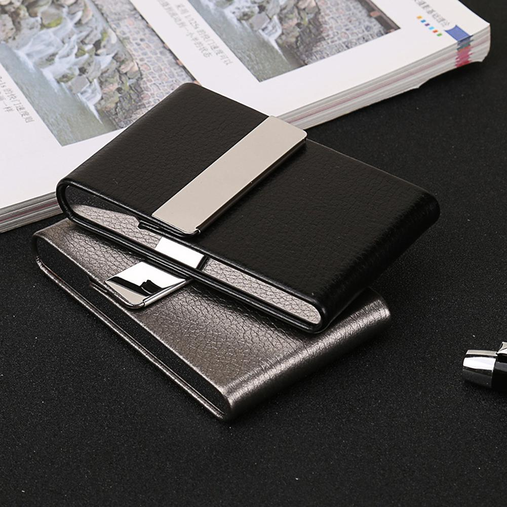 Portable Men Metal Leather Card Case Holder for Business ID Card Storage eye shadow